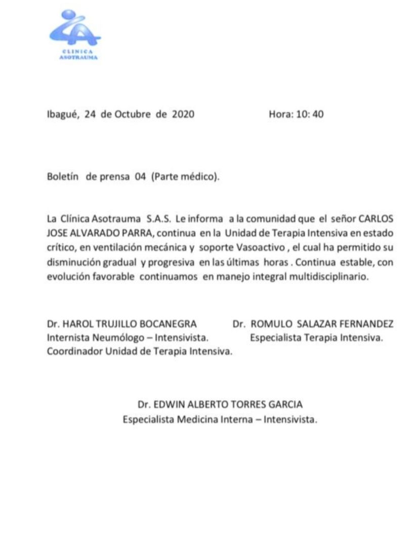 LA SALUD DE DON CARLOS ALVARADO EVOLUCIONA FAVORABLEMENTE 2