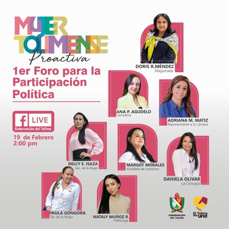 Gobierno departamental realiza su primer Foro de Participación Política con mujeres en el Tolima. 1